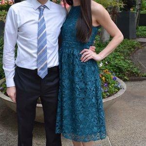 Turquoise Lace Midi Dress